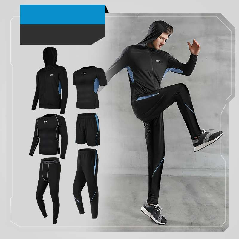 6-Piece Breathable Quick-Dry Men Sportswear Hooded Sets
