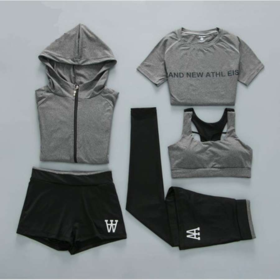 5 Pcs Sport Wear Women Gym Fitness Clothing Tennis Sport Suit Breathable Tracksuit Workout Running Clothes 3