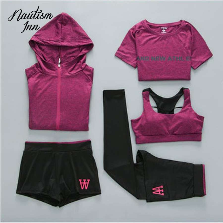 5 Pcs Sport Wear Women Gym Fitness Clothing Tennis Sport Suit Breathable Tracksuit Workout Running Clothes