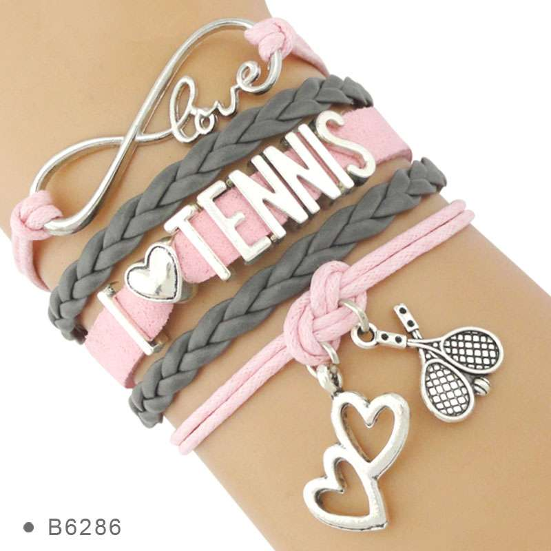 Infinity Love Tennis Racket Racquet Mom Gift for Tennis Player Jewelry Drop Shipping Wrap Bracelets for 1