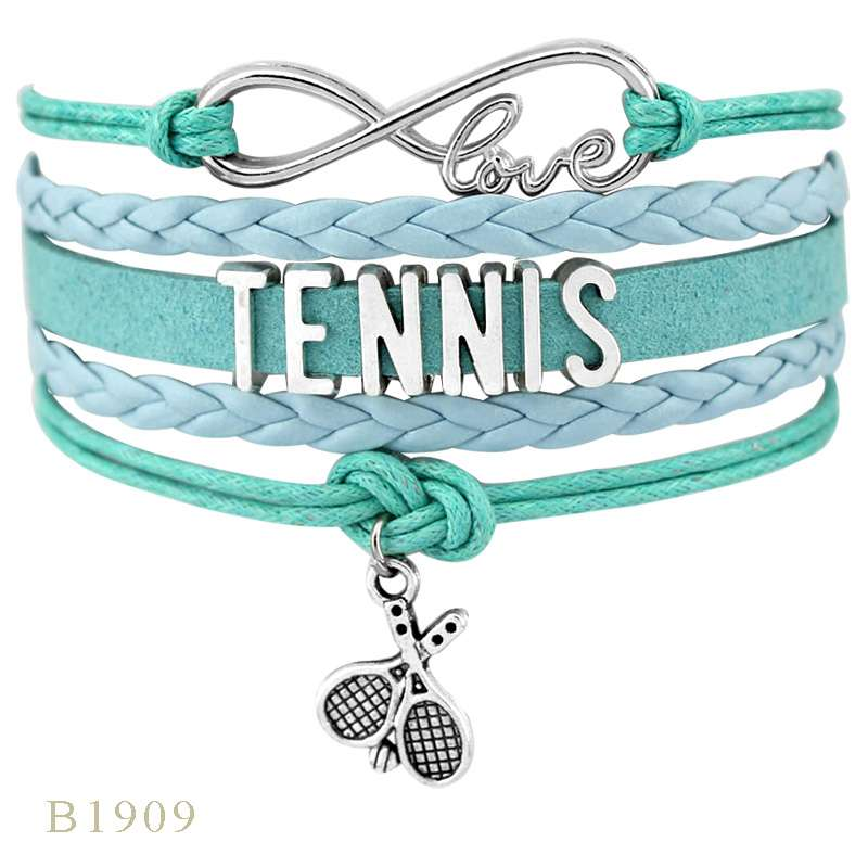 Infinity Love Tennis Racket Racquet Mom Gift for Tennis Player Jewelry Drop Shipping Wrap Bracelets for B1909