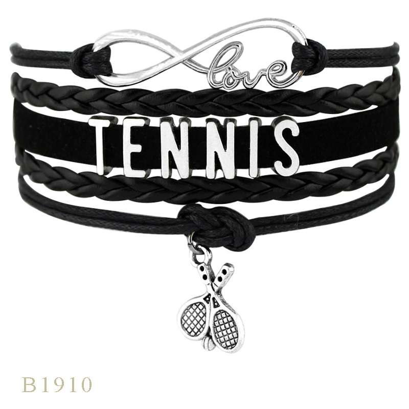 Infinity Love Tennis Racket Racquet Mom Gift for Tennis Player Jewelry Drop Shipping Wrap Bracelets for B1910