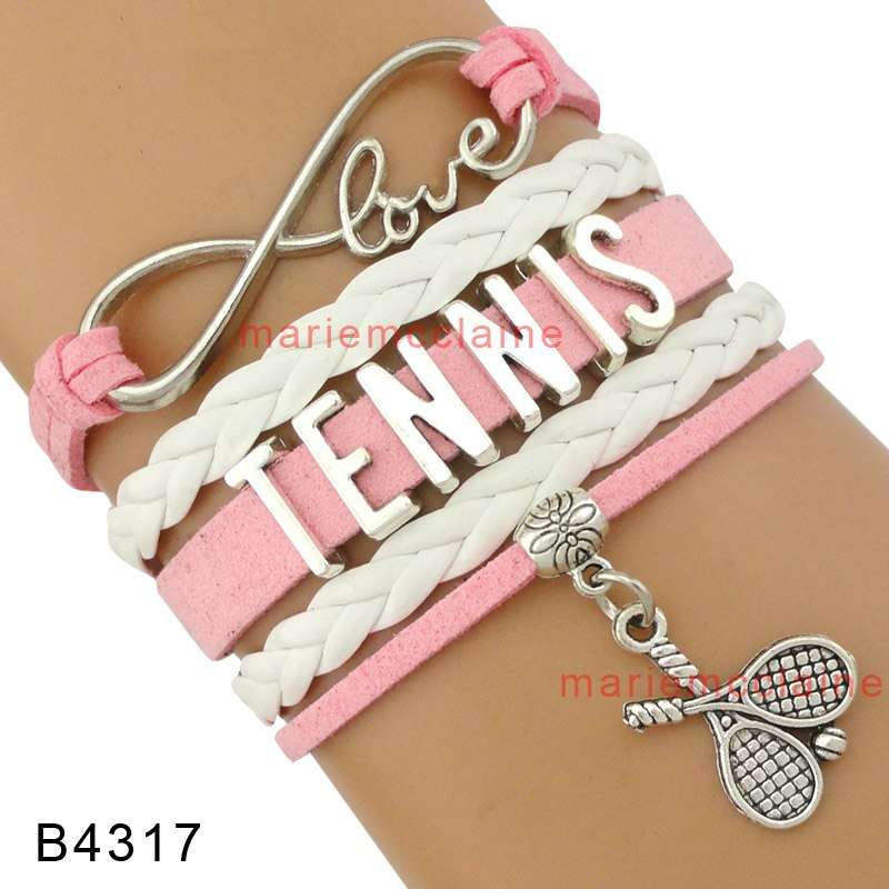 Infinity Love Tennis Racket Racquet Mom Gift for Tennis Player Jewelry Drop Shipping Wrap Bracelets for B4317