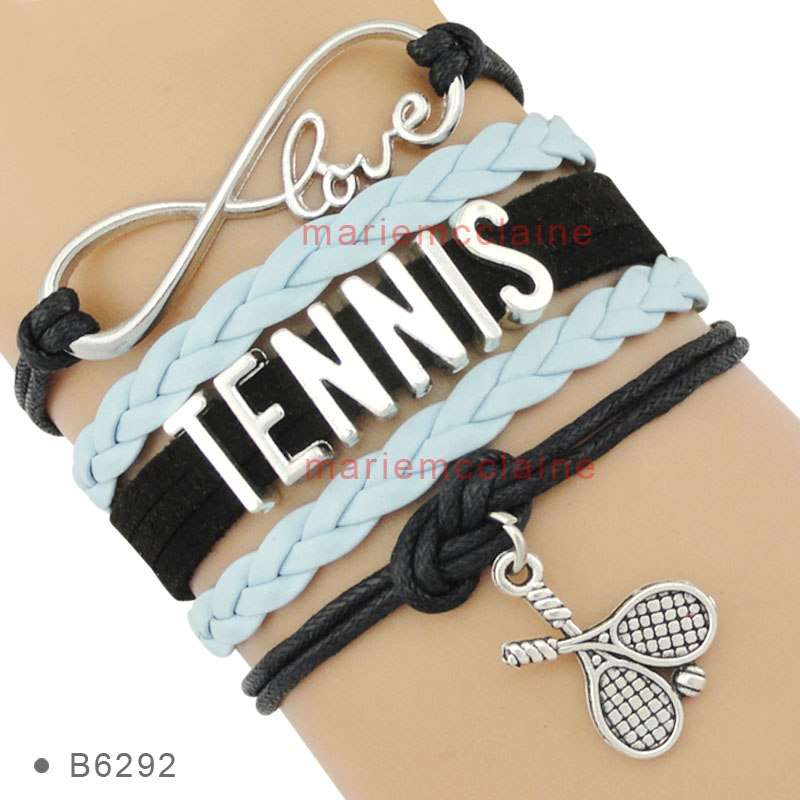 Infinity Love Tennis Racket Racquet Mom Gift for Tennis Player Jewelry Drop Shipping Wrap Bracelets for B6292