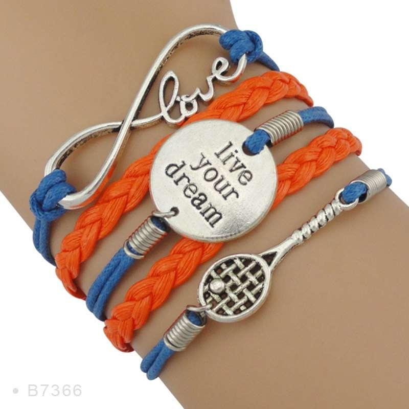 Infinity Love Tennis Racket Racquet Mom Gift for Tennis Player Jewelry Drop Shipping Wrap Bracelets for B7366