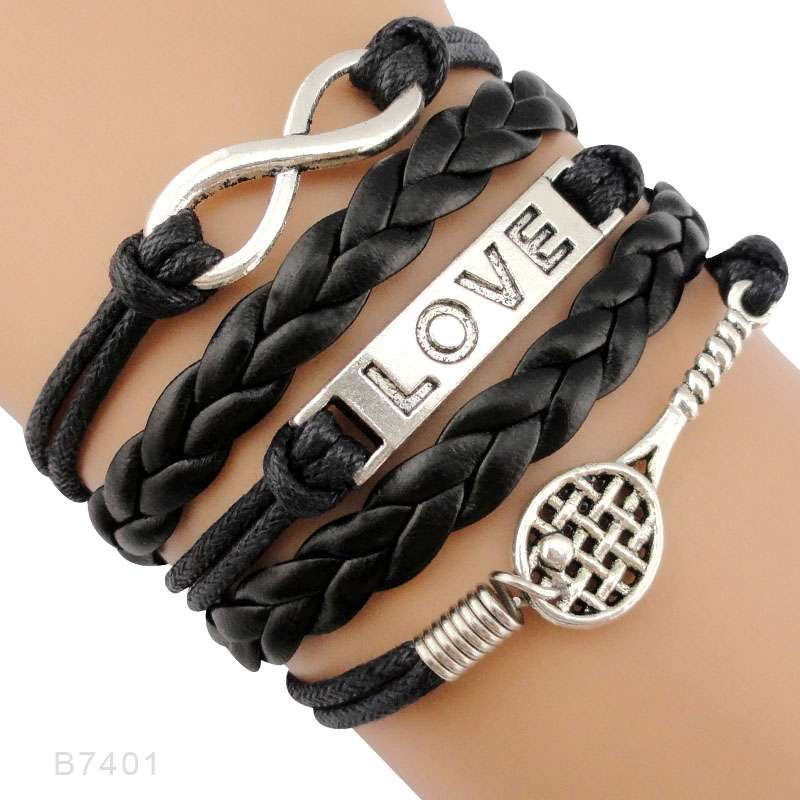 Infinity Love Tennis Racket Racquet Mom Gift for Tennis Player Jewelry Drop Shipping Wrap Bracelets for B7401