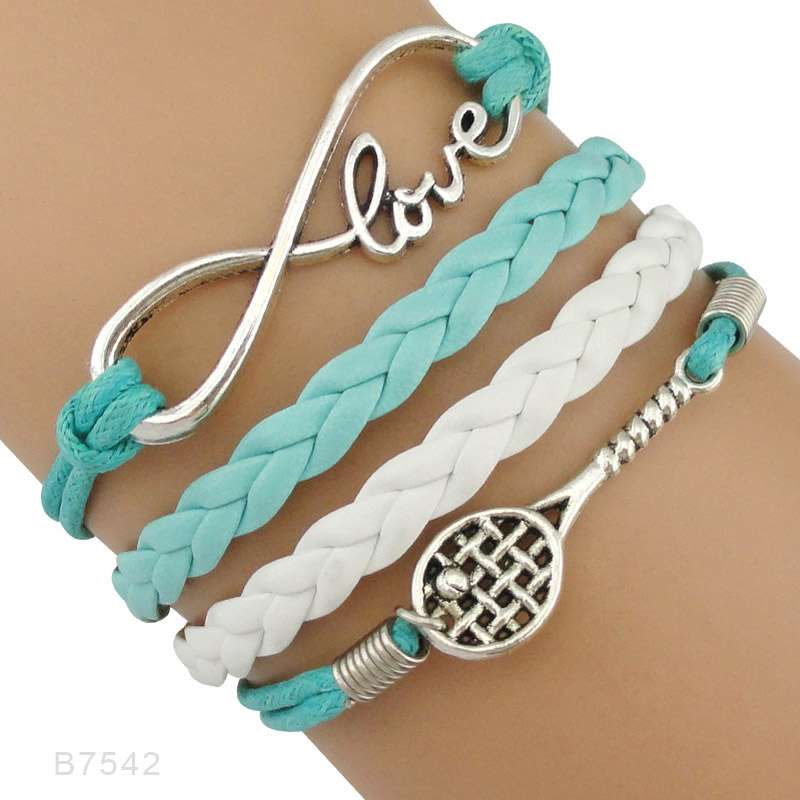 Infinity Love Tennis Racket Racquet Mom Gift for Tennis Player Jewelry Drop Shipping Wrap Bracelets for B7542