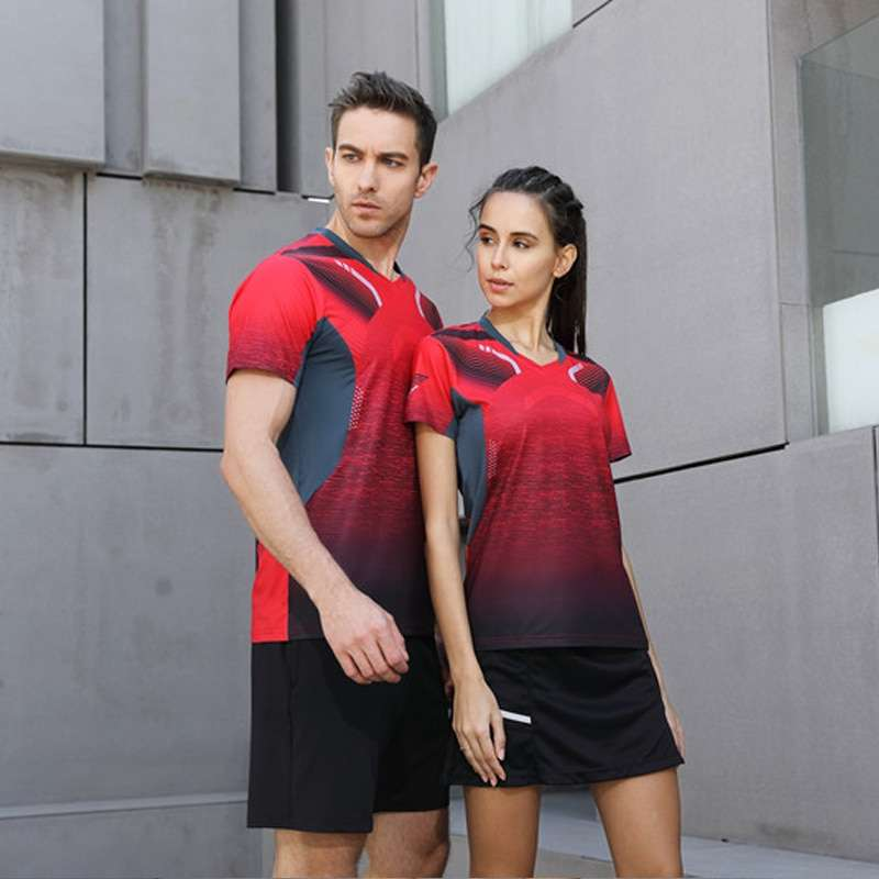 2018 High Quality Sexy Red Running Sport Quick Dry Breathable Badminton Shirt Women Men Table Tennis 1