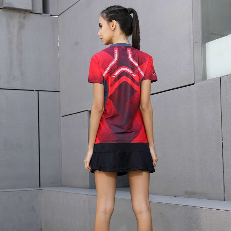 2018 High Quality Sexy Red Running Sport Quick Dry Breathable Badminton Shirt Women Men Table Tennis 2