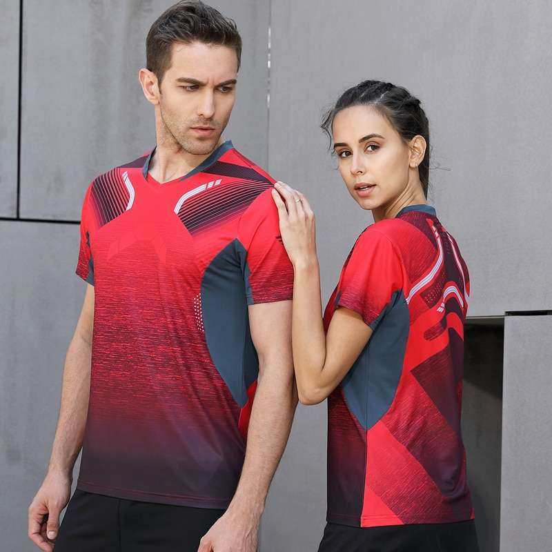 2018 High Quality Sexy Red Running Sport Quick Dry Breathable Badminton Shirt Women Men Table Tennis