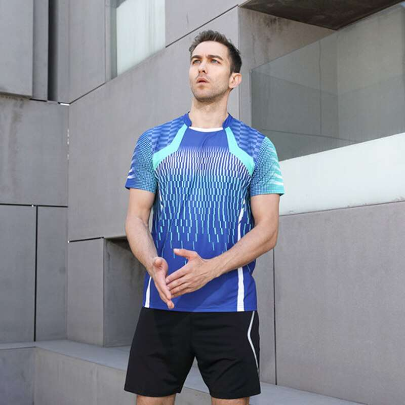 High Quality Blue Mens Running Sport Outdoor Fitness Gym Quick Dry Comfort Breathable Badminton Shirt Men 1
