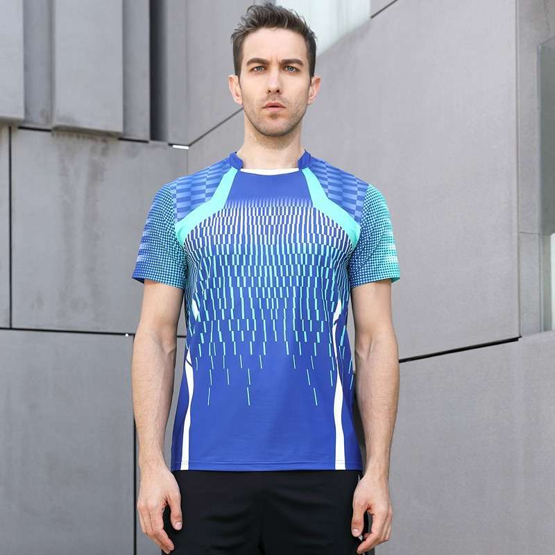 High Quality Blue Mens Running Sport Outdoor Fitness Gym Quick Dry Comfort Breathable Badminton Shirt Men