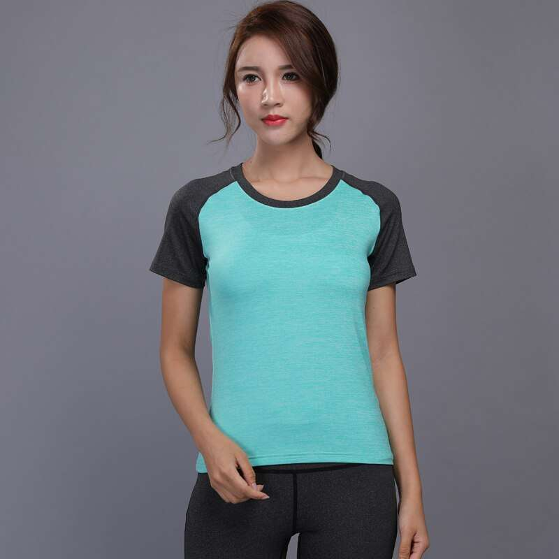 New Women Running Shirt Sexy Quick Dry Yoga Clothing Fitness Sport Shirt Short Sleeve Breathable Workout 1