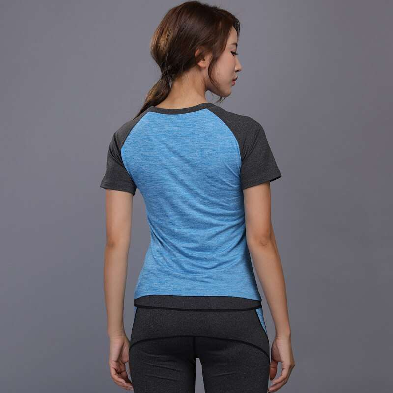 New Women Running Shirt Sexy Quick Dry Yoga Clothing Fitness Sport Shirt Short Sleeve Breathable Workout 5