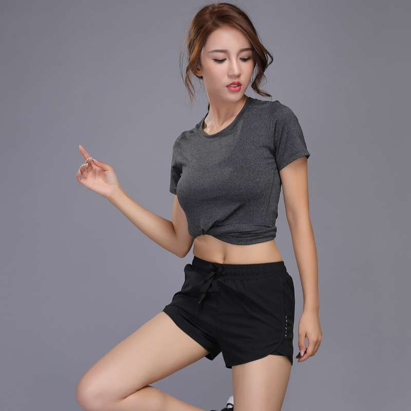 New Women Yoga Set Girl Fitness Running Shirt And Shorts Quick Dry Breathable Gym Workout Clothing 2