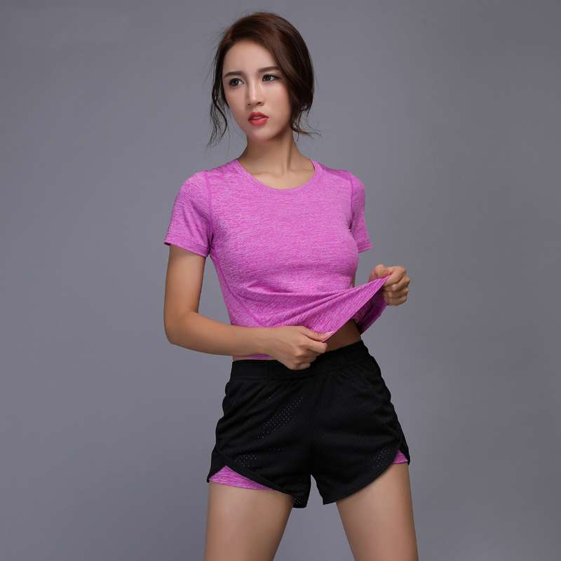 New Women Yoga Set Girl Fitness Running Shirt And Shorts Quick Dry Breathable Gym Workout Clothing 3