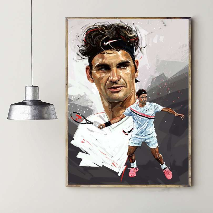 Roger Federer Sport Art Canvas Painting Print Wall Poster for Living Room Decoration