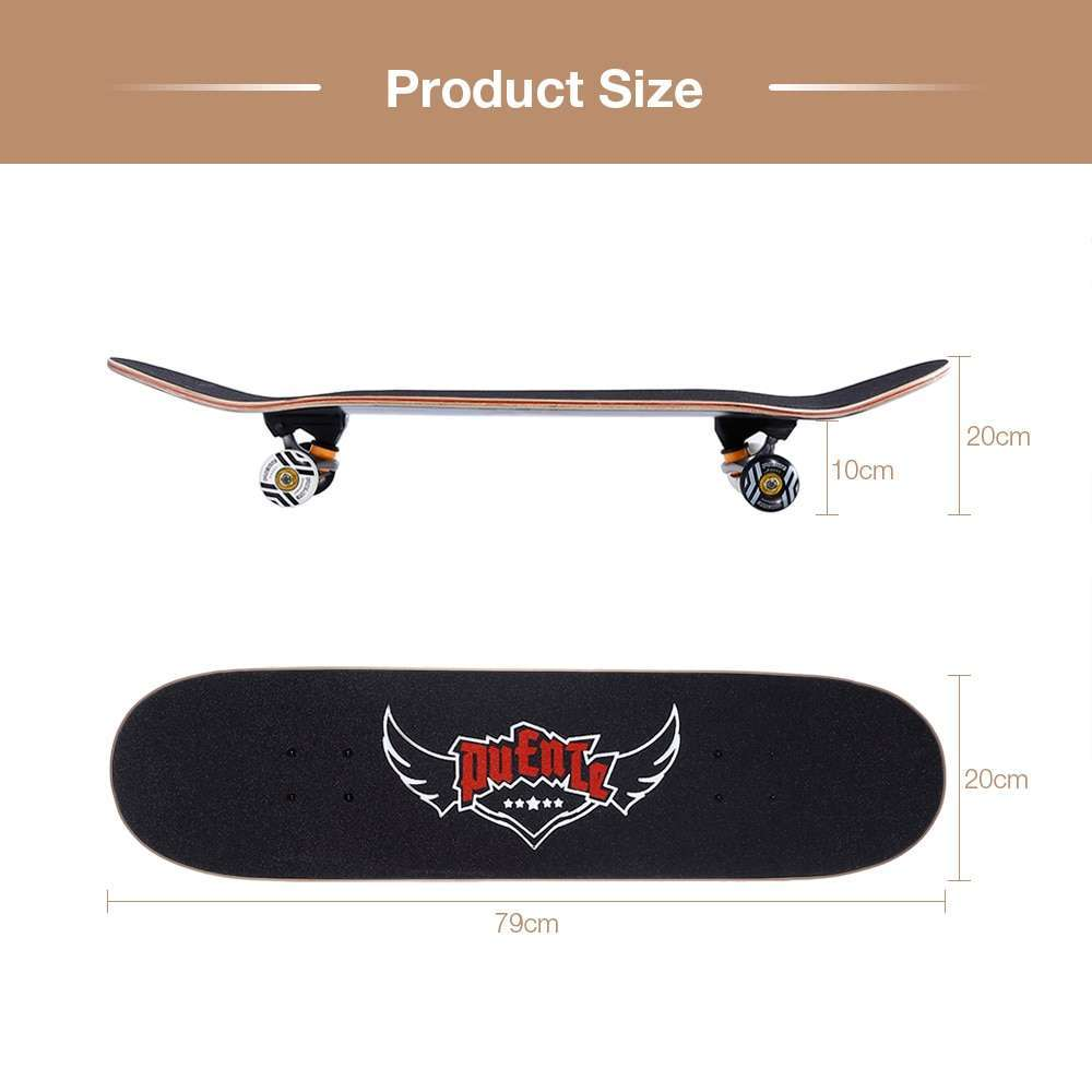 1 PUENTE 608 Skate board ABEC 9 Adult Four wheel Double Snubby Maple Skateboard With 7 layer