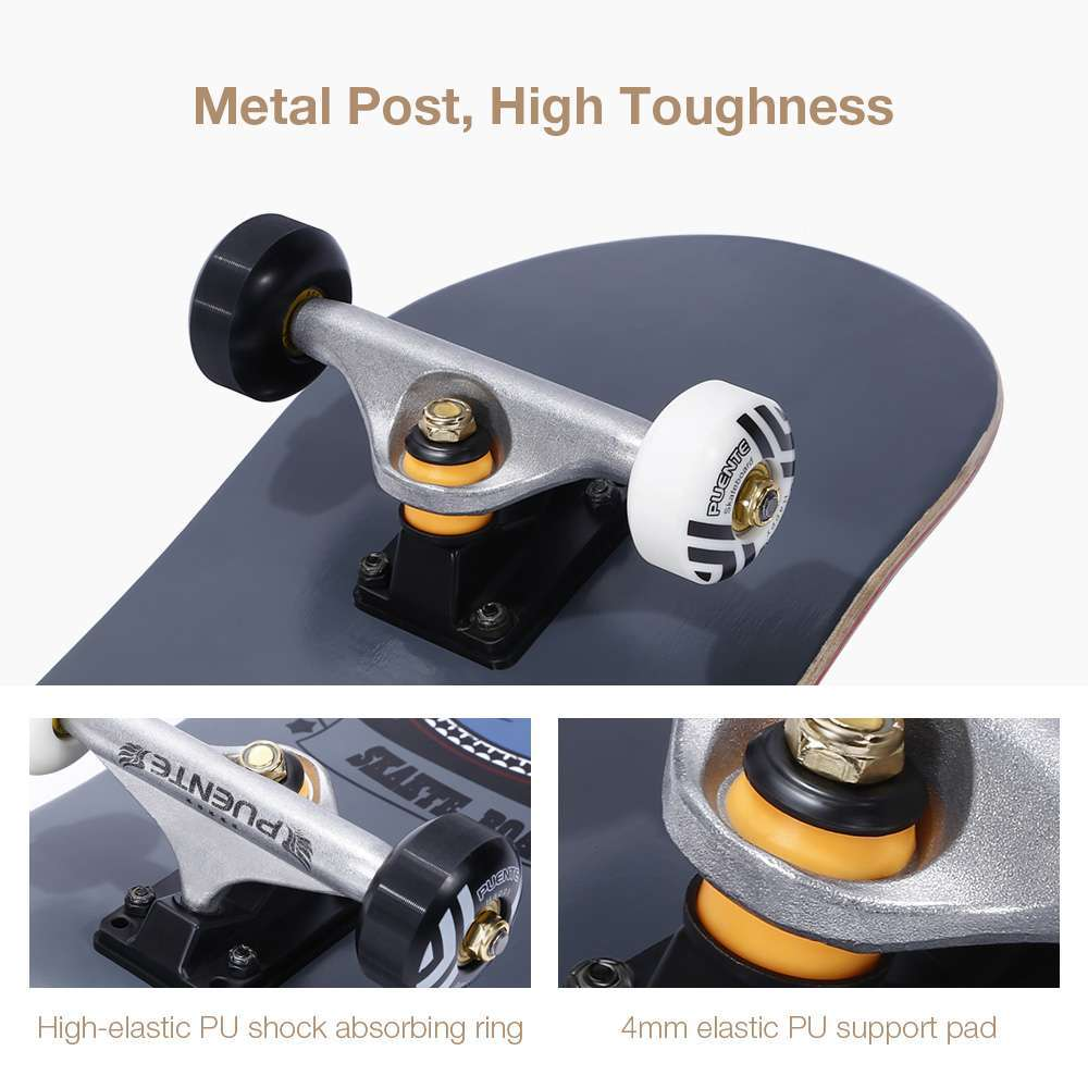 3 PUENTE 608 Skate board ABEC 9 Adult Four wheel Double Snubby Maple Skateboard With 7 layer