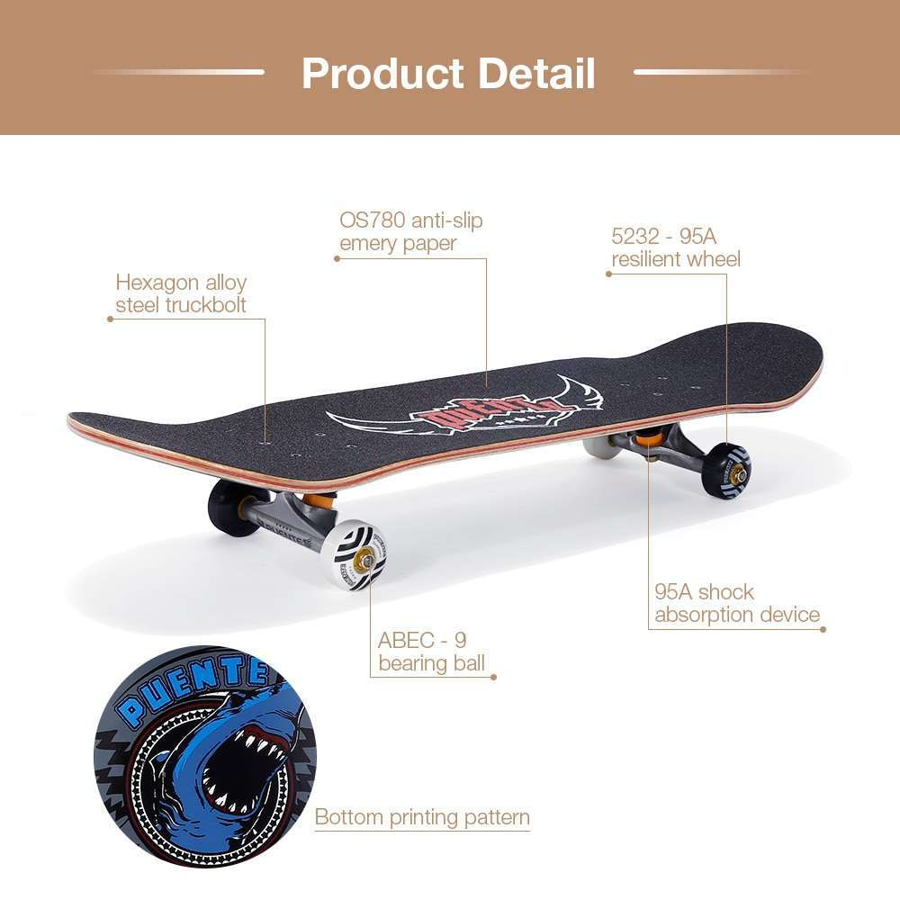 4 PUENTE 608 Skate board ABEC 9 Adult Four wheel Double Snubby Maple Skateboard With 7 layer