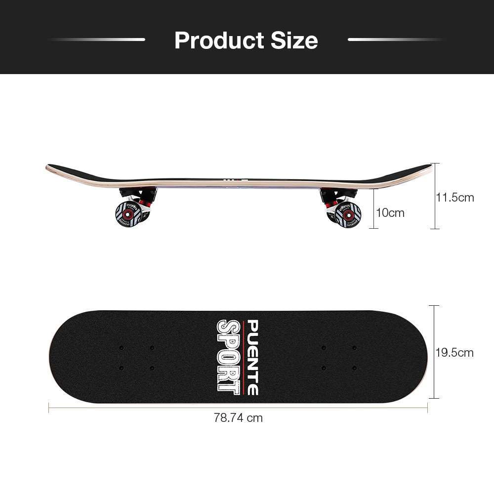 5 PUENTE 602 ABEC 9 Adult Four Wheel Skateboard Skate Board Double Snubby 7 layer Maple Long