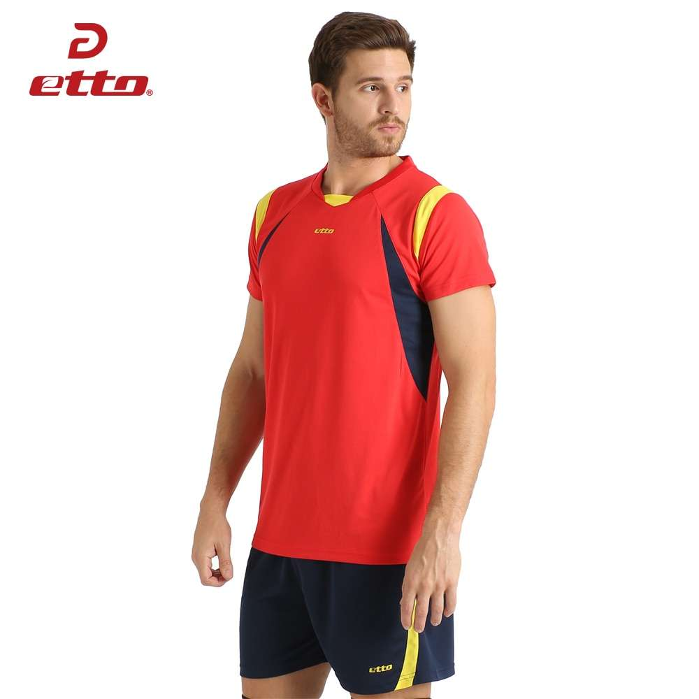 Etto New Male Sport Breathable Short Sleeved T shirt And Shorts Volleyball Suit Professional Volley ball 1