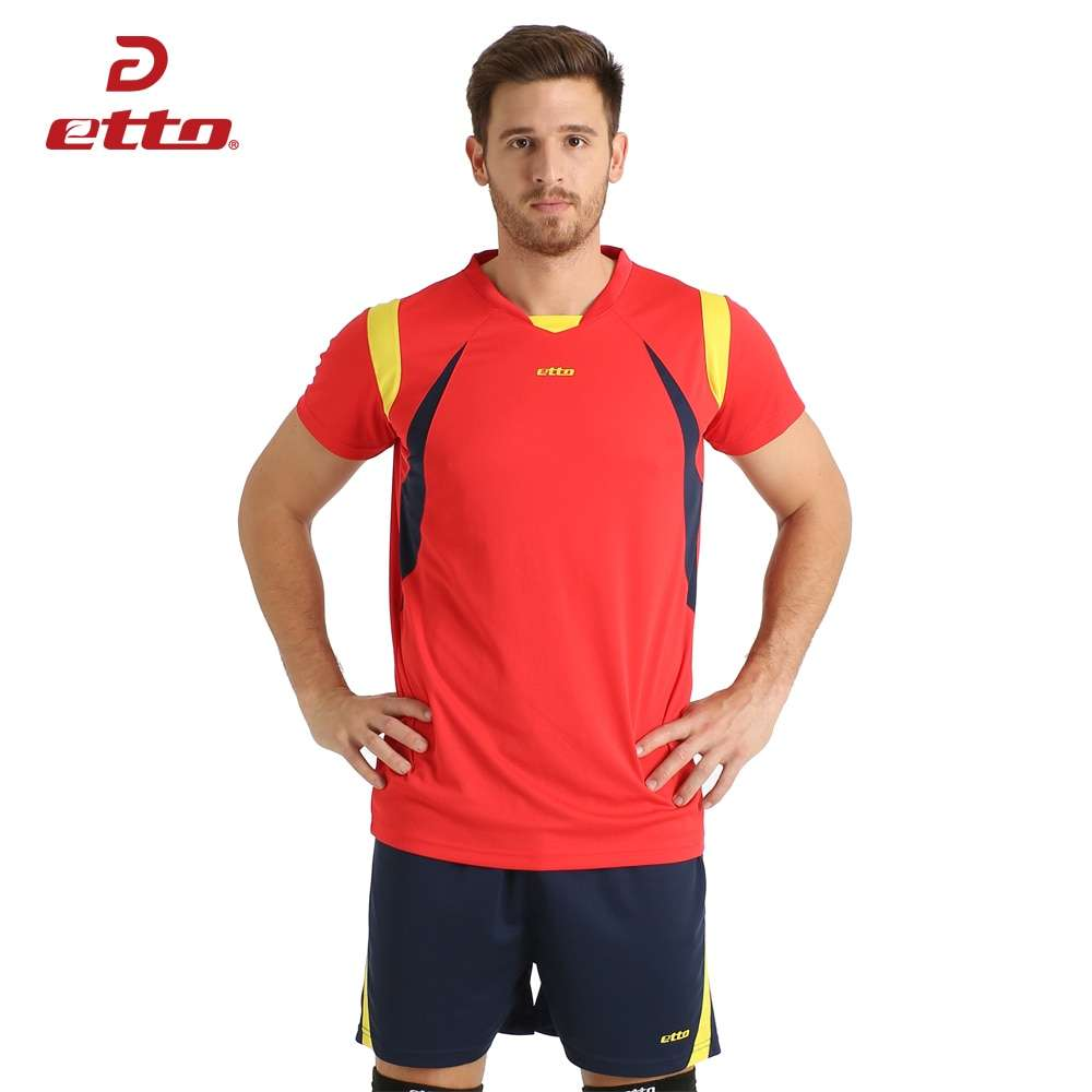 Etto New Male Sport Breathable Short Sleeved T shirt And Shorts Volleyball Suit Professional Volley ball