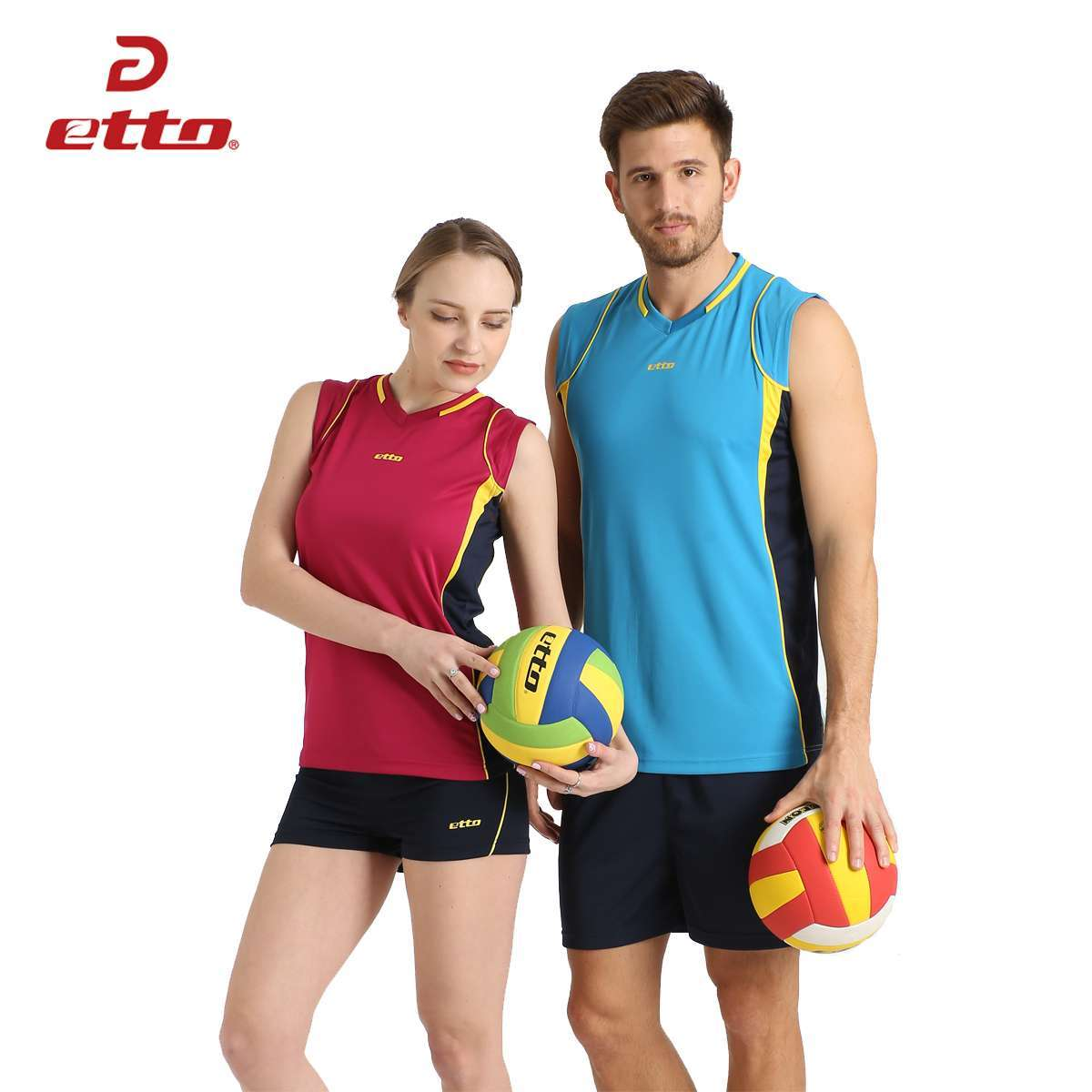 Etto Professional Men Sleeveless Volleyball Set Team Uniforms Breathable Quick dry Volleyball Jersey Suit Sportswear HXB002 3