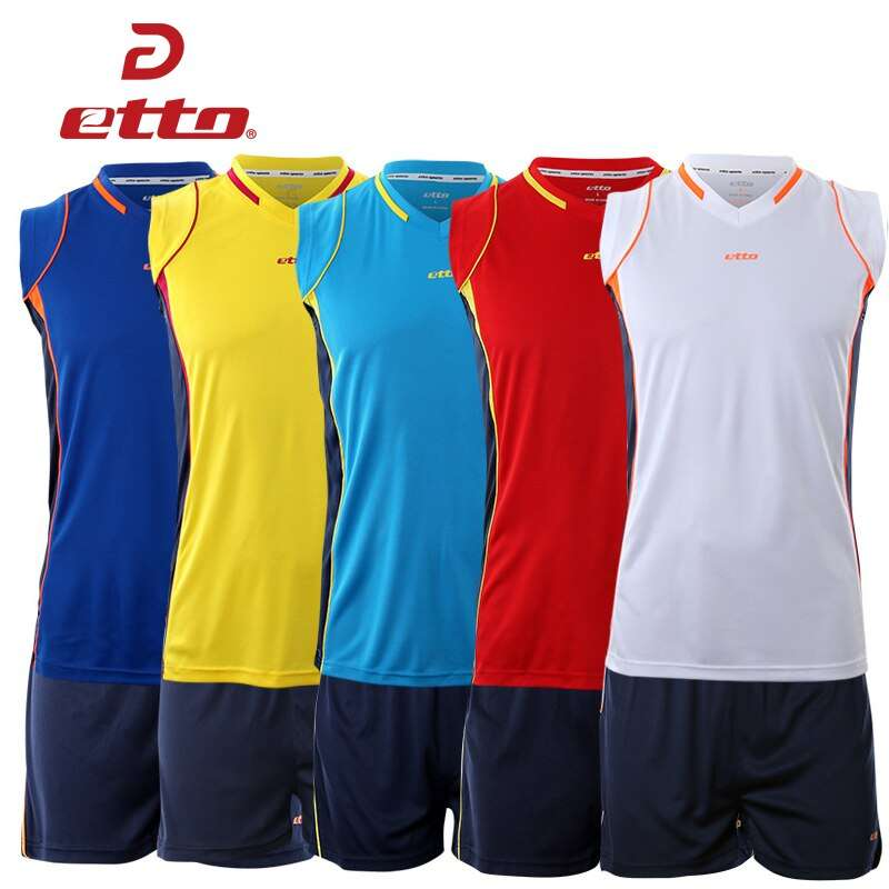 Etto Professional Men Sleeveless Volleyball Set Team Uniforms Breathable Quick dry Volleyball Jersey Suit Sportswear HXB002 4