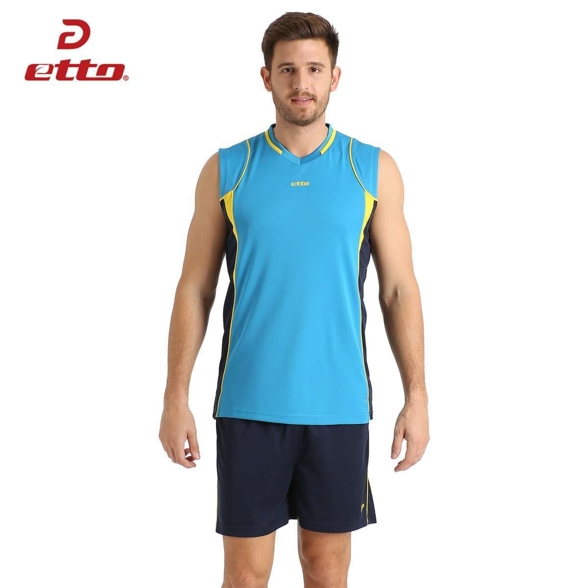 Etto Professional Men Sleeveless Volleyball Set Team Uniforms Breathable Quick dry Volleyball Jersey Suit Sportswear HXB002