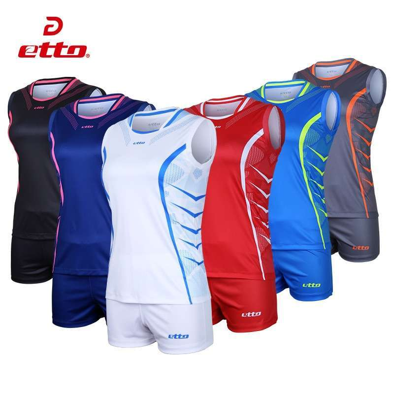 Etto Professional Volleyball Team Suits For Women Quick Dry Sleeveless Jersey Volleyball Set Female Match Tracksuit