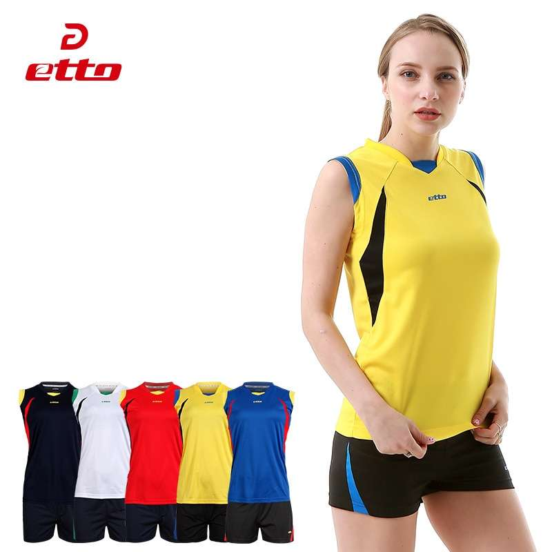 Etto Women Professional Volleyball Uniforms Set Breathable Quick Dry Volleyball Jersey Shorts Kits Female Sportswear HXB017 1