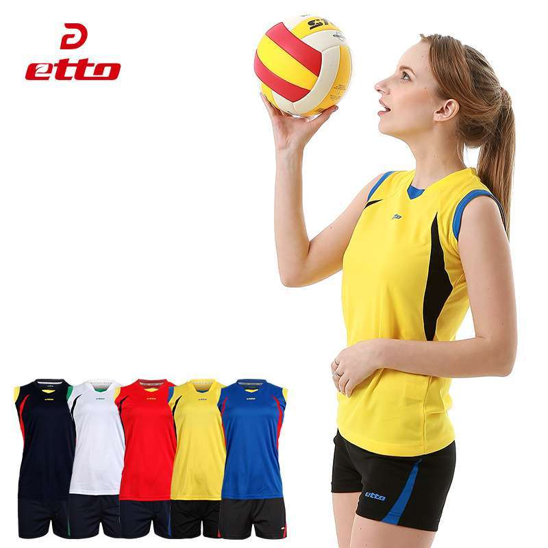 Etto Women Professional Volleyball Uniforms Set Breathable Quick Dry Volleyball Jersey Shorts Kits Female Sportswear HXB017 2
