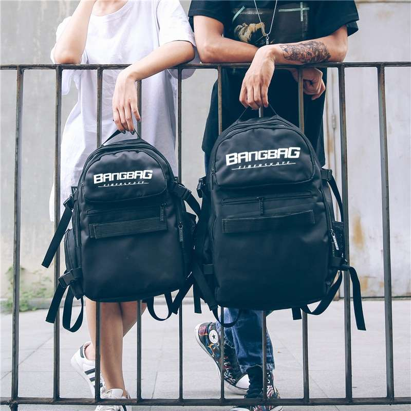 Free Shipping 2017 New Oxford Fabric Double Rocker Bags Skateboard Backpack Lovers Bags Black Students Bags 3
