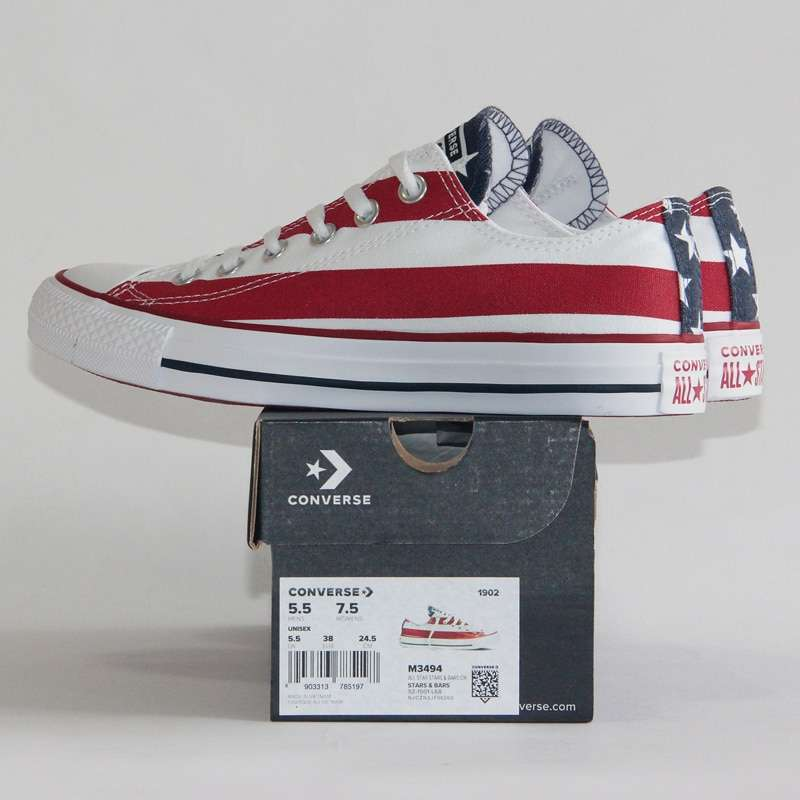 NEW Original CONVERSE The national flag design shoes All Star man women unisex low sneakers Skateboarding 1