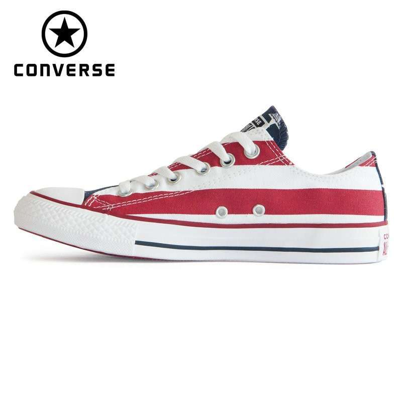 NEW Original CONVERSE The national flag design shoes All Star man women unisex low sneakers Skateboarding