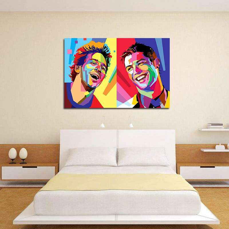 2 Football Star Cristiano Ronaldo Poster Home Decoration Wall Art Pictures Messi Canvas Painting for Kid s