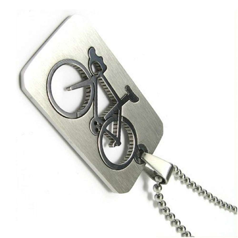 1 PC New Design Men s Stainless Steel Quadrate Bicycle Pendant Silver Color Necklace Fashion Jewelry 1