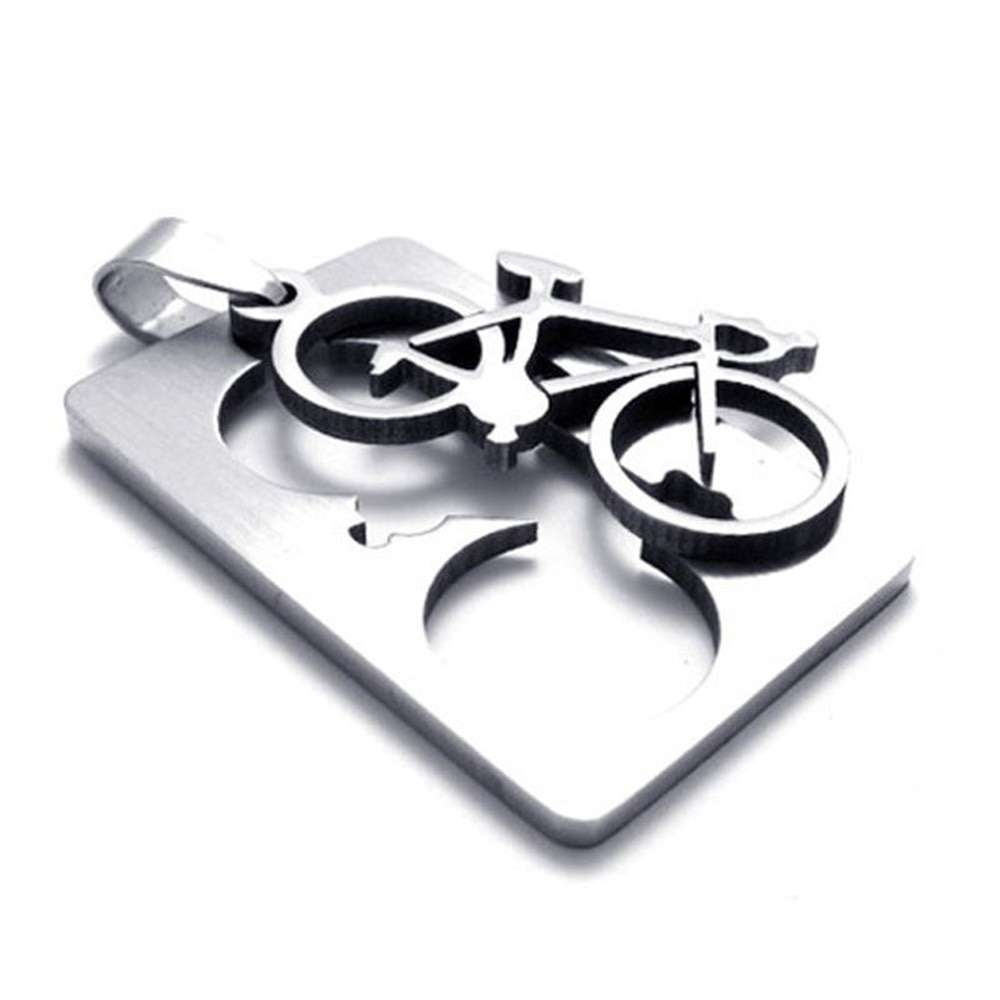 1 PC New Design Men s Stainless Steel Quadrate Bicycle Pendant Silver Color Necklace Fashion Jewelry 2