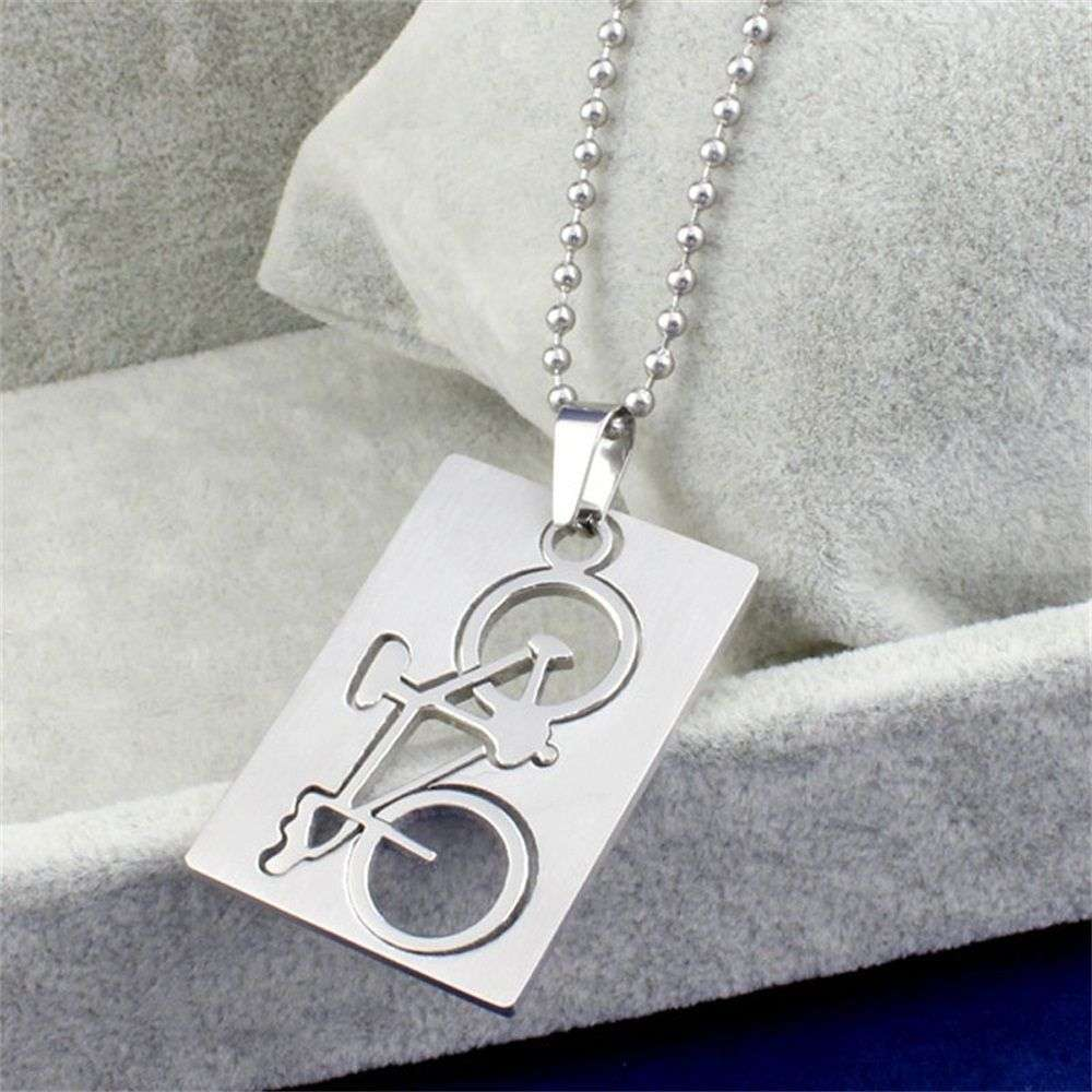 1 PC New Design Men s Stainless Steel Quadrate Bicycle Pendant Silver Color Necklace Fashion Jewelry 3
