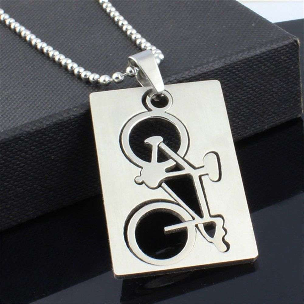 1 PC New Design Men s Stainless Steel Quadrate Bicycle Pendant Silver Color Necklace Fashion Jewelry 5