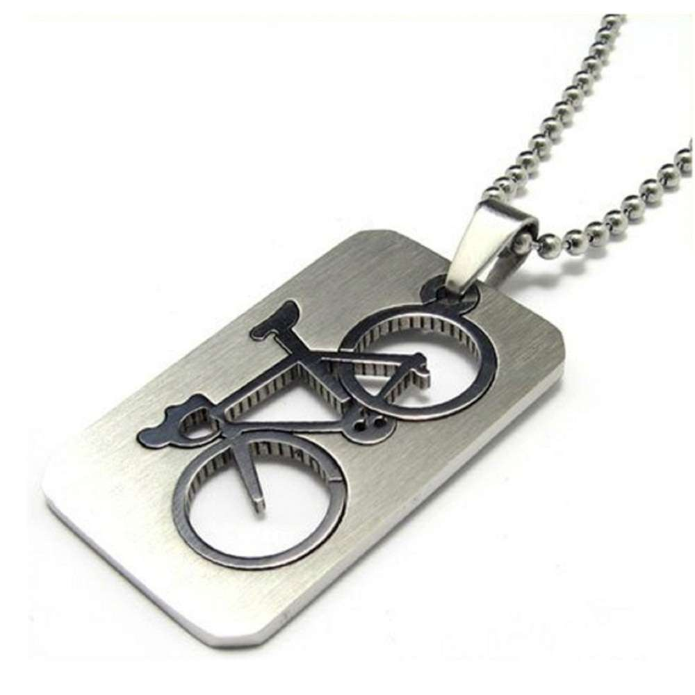 1 PC New Design Men s Stainless Steel Quadrate Bicycle Pendant Silver Color Necklace Fashion Jewelry