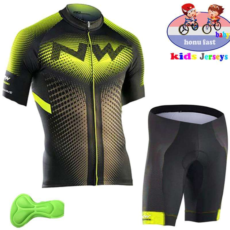 2018 summer kids Cycling Clothing Bicycle Wear Short sleeve Jersey with Shorts Set Children MTB Road 2