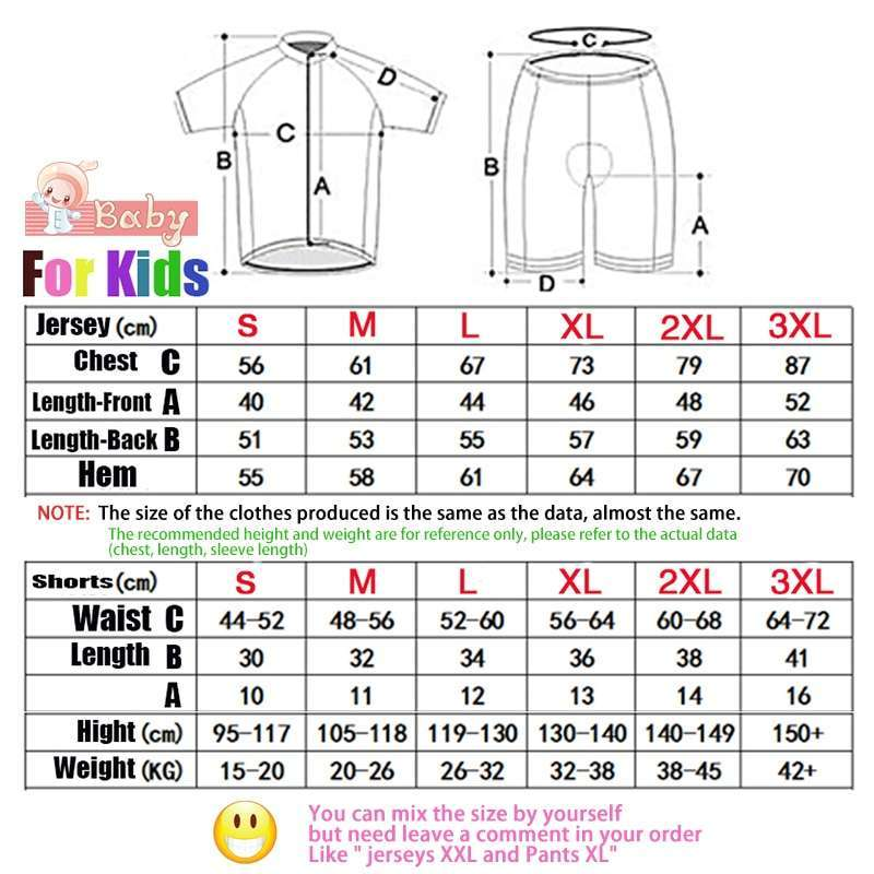 2018 summer kids Cycling Clothing Bicycle Wear Short sleeve Jersey with Shorts Set Children MTB Road 5