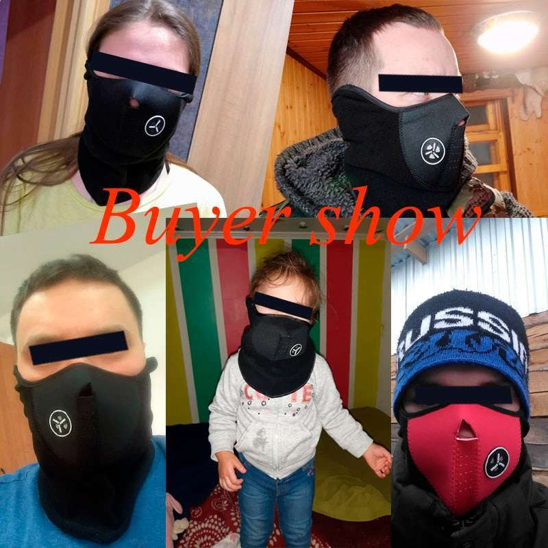 Airsoft Warm Fleece Bike Half Face Mask Cover Face Hood Protection Cycling Ski Sports Outdoor Winter 5