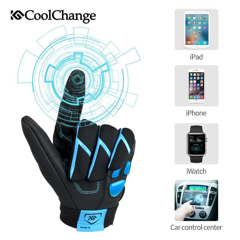 CoolChange Bicycle Gloves Winter Thermal Waterproof Bike Gloves Long Finger Touch Screen Wrist Buckle Cycling Gloves 2
