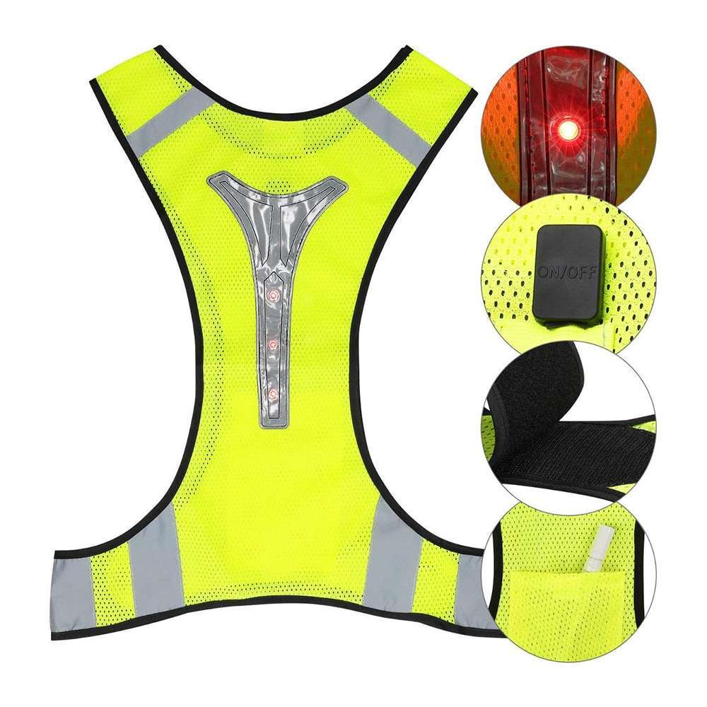 Cycling Reflective Vest LED Running Outdoor Safety Jogging Breathable High Visibility Reflective Warning Stripes Riding Vest 7