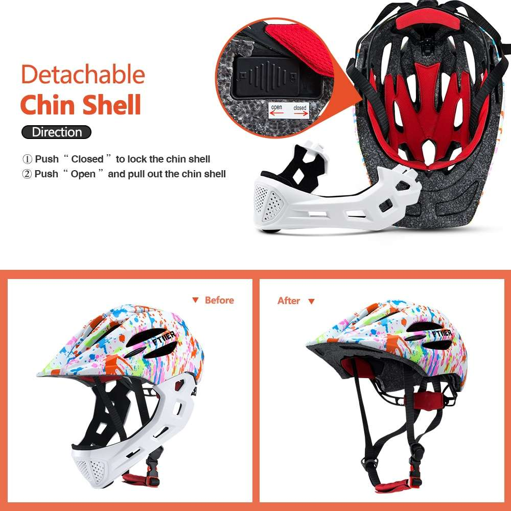 Ftiier Kid LED Mountain Mtb Road Bicycle Helmet Detachable Pro Protection Children Full Face Bike Cycling 1