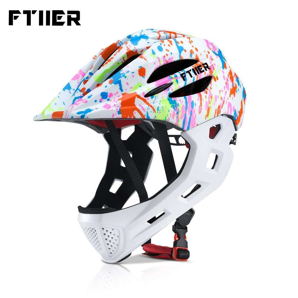 Ftiier Kid LED Mountain Mtb Road Bicycle Helmet Detachable Pro Protection Children Full Face Bike Cycling