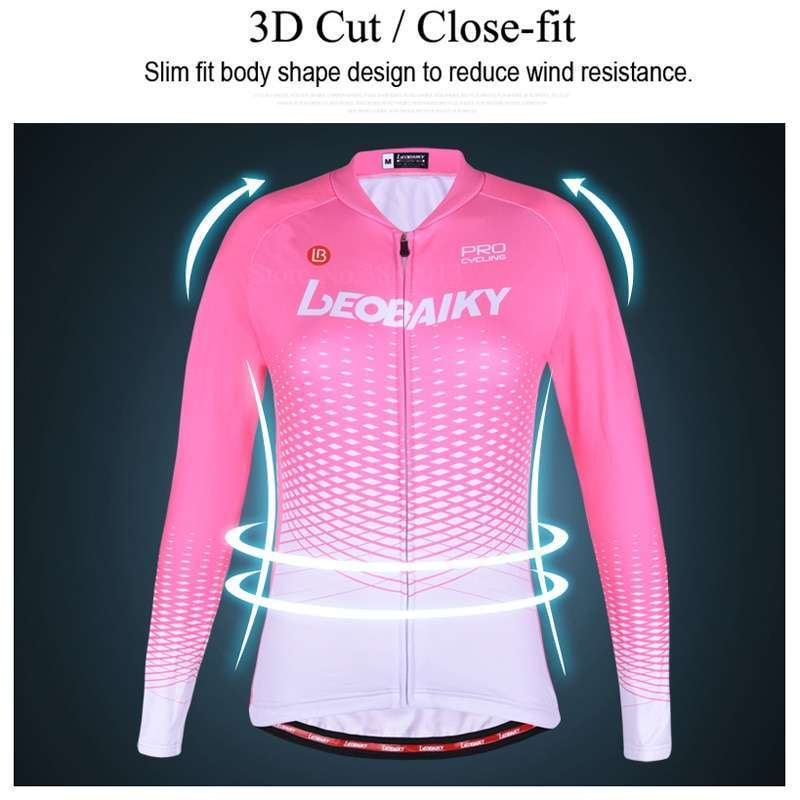 LEOBAIKY Pro Team Cycling Jersey Set Long Sleeve Winter Thermal Fleece Bicycle Clothes Women Bike Clothing 2